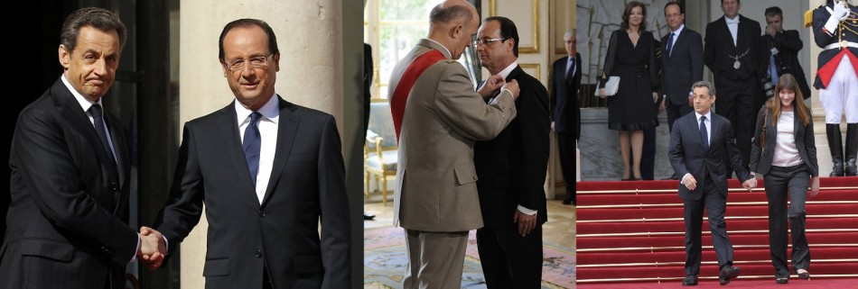 Francois Hollande is officially named President at the handover ceremony at the Elysee Palace in Paris May 15, 2012 ( Reuters)