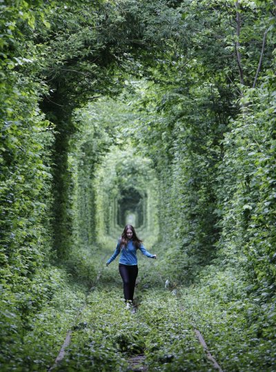 Unused Railway Track in Ukraine Forms into Tunnel of Love