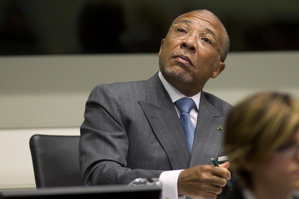 Former Liberian President Taylor attends his trial at the Special Court for Sierra Leone