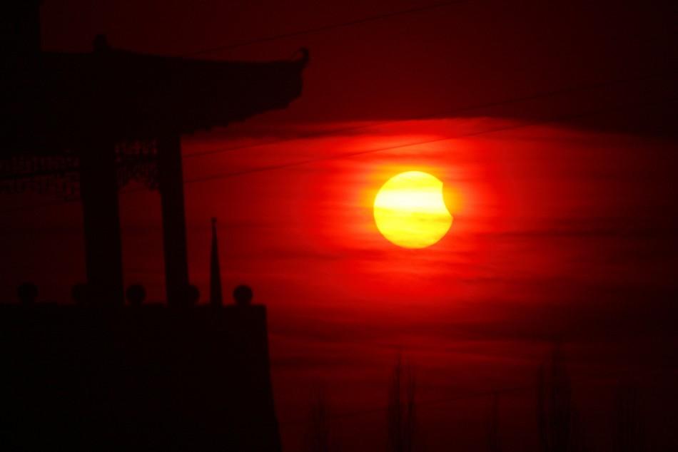 A partial solar eclipse seen in Hami