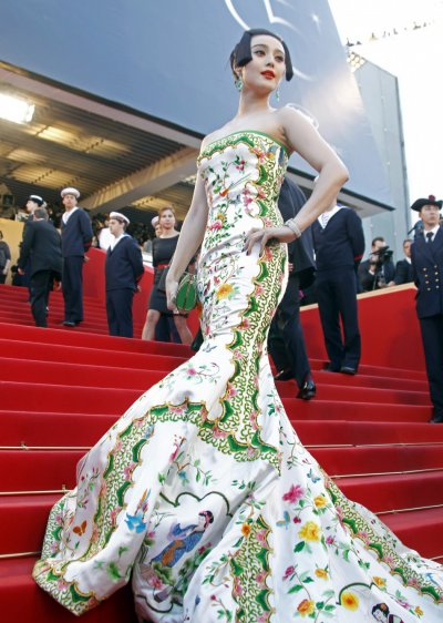 Actress Fan Bing Bing arrives on the red carpet for the screening of the film Moonrise Kingdom in competition at the 65th Cannes Film Festival