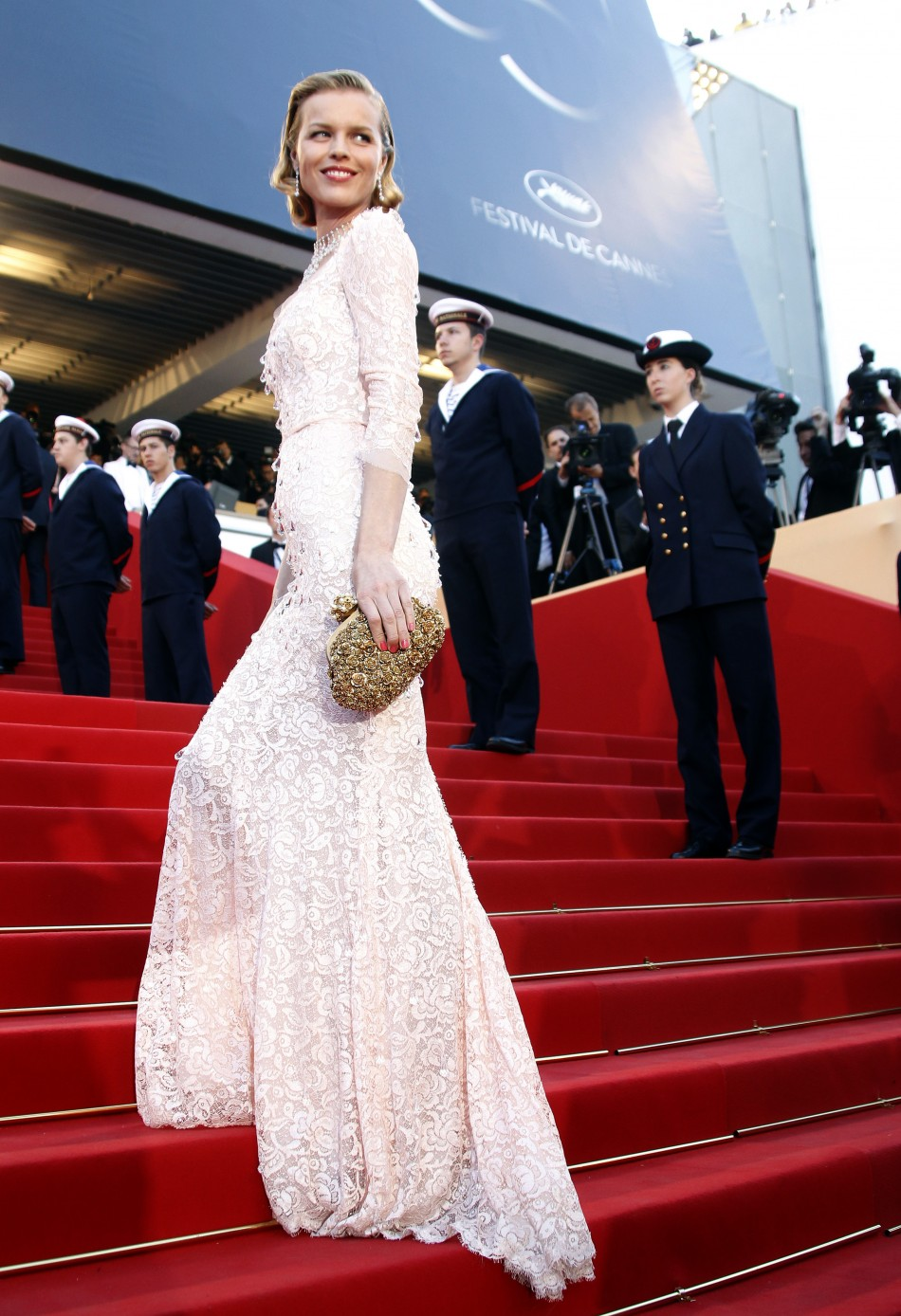 Czech model Herzigova arrives on the red carpet for the screening of the film Moonrise Kingdom in competition at the 65th Cannes Film Festival