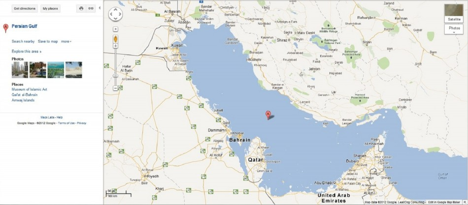 Map of Persian Gulf on Google Maps