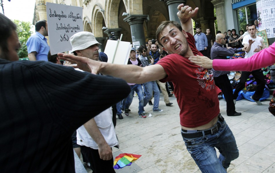 Gay rights activist clashes with Orthodox Christian in Tbilisi as first Pride march is held in capital of former Soviet republic