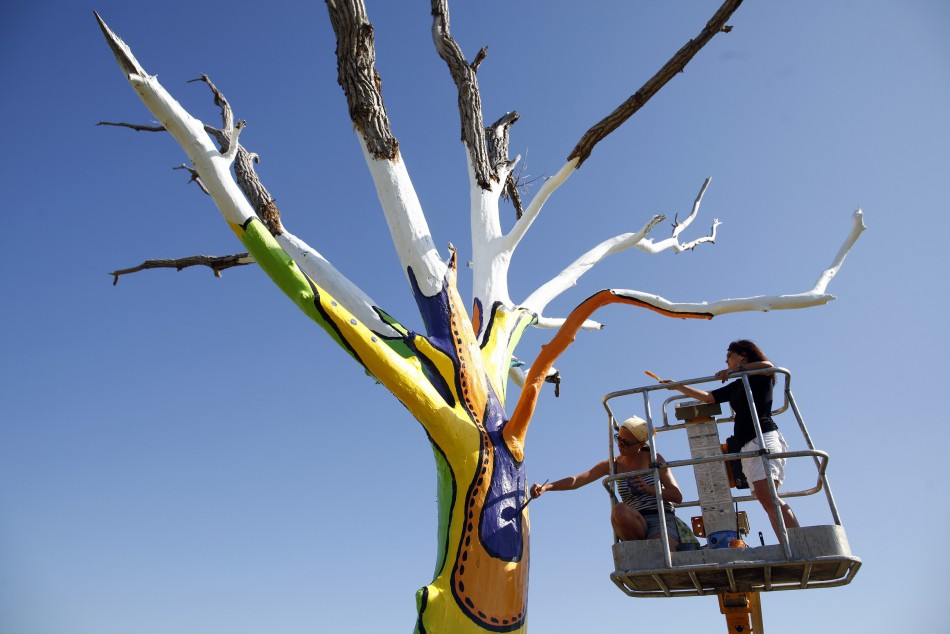 Artists Emily Frankoski and Dolores Bilke paint a tornado damaged tree in Joplin