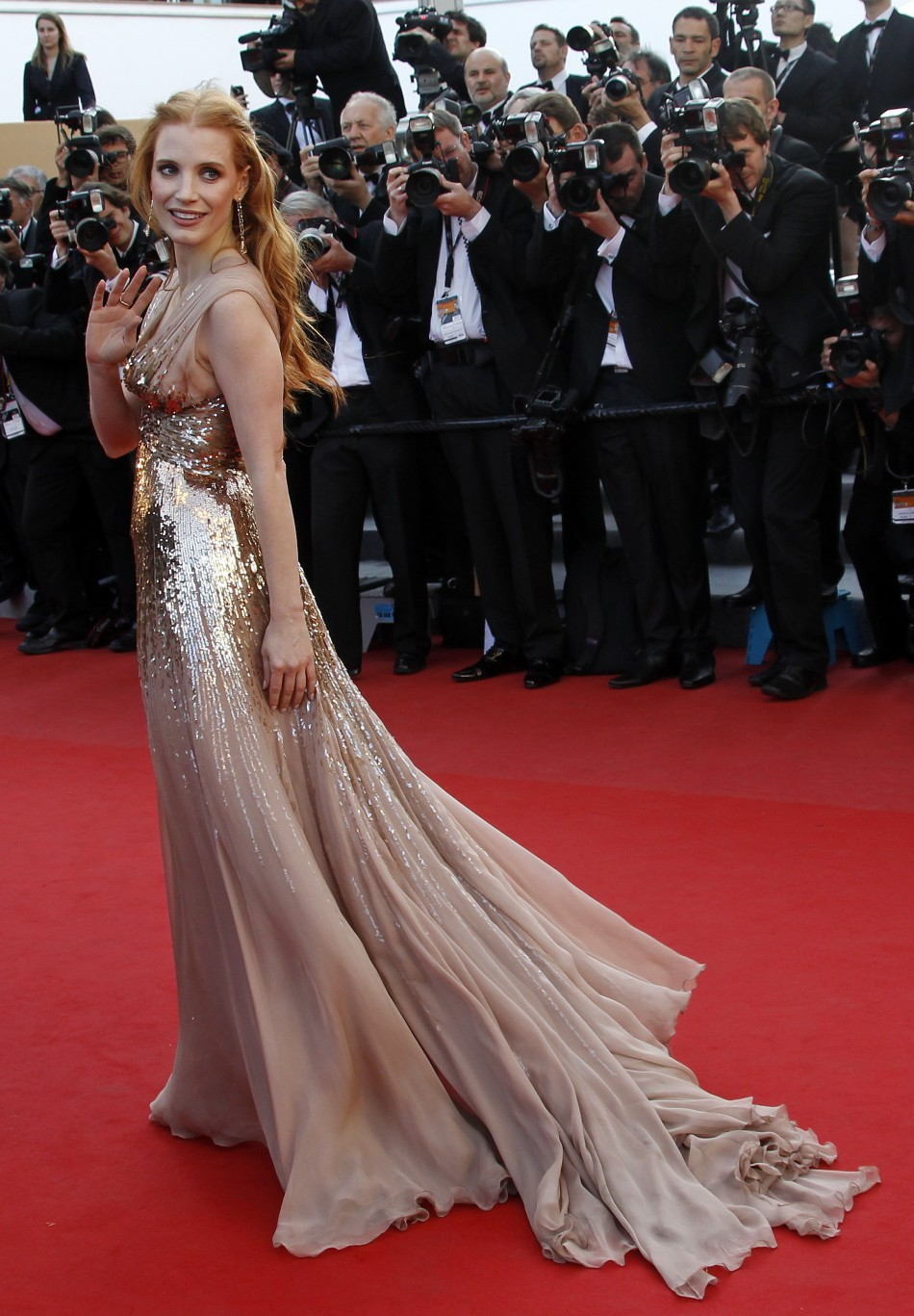 Cast member Chastain arrives on the red carpet for the screening of the film Lawless at the 65th Cannes Film Festival