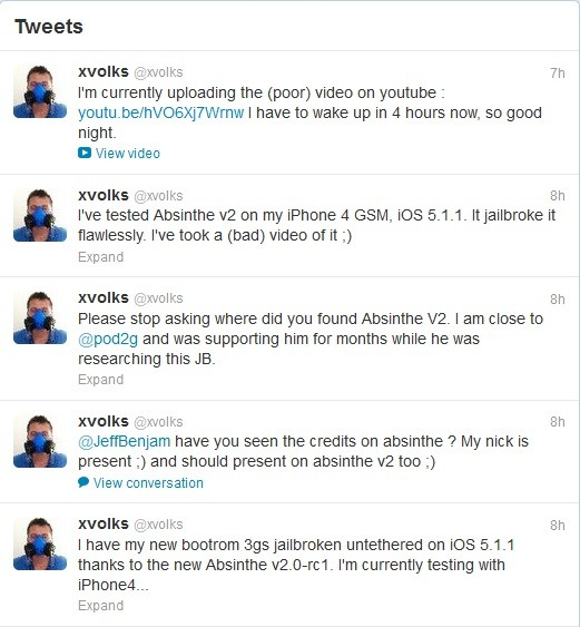 xvolks Twitter Updates for Absinthe 2.0 jailbreak