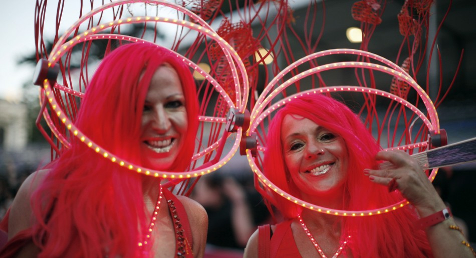 Participants arrive for the opening ceremony of the 20th Life Ball in Vienna