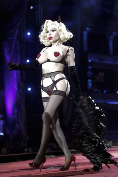 U.S. model Amanda Lepore wears a creation of Agent Provocateur during the opening ceremony of the 20th Life Ball in Vienna