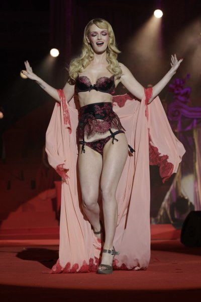 U.S. model Lydia Hearst wears a creation of Agent Provocateur on stage during the opening ceremony of the 20th Life Ball...