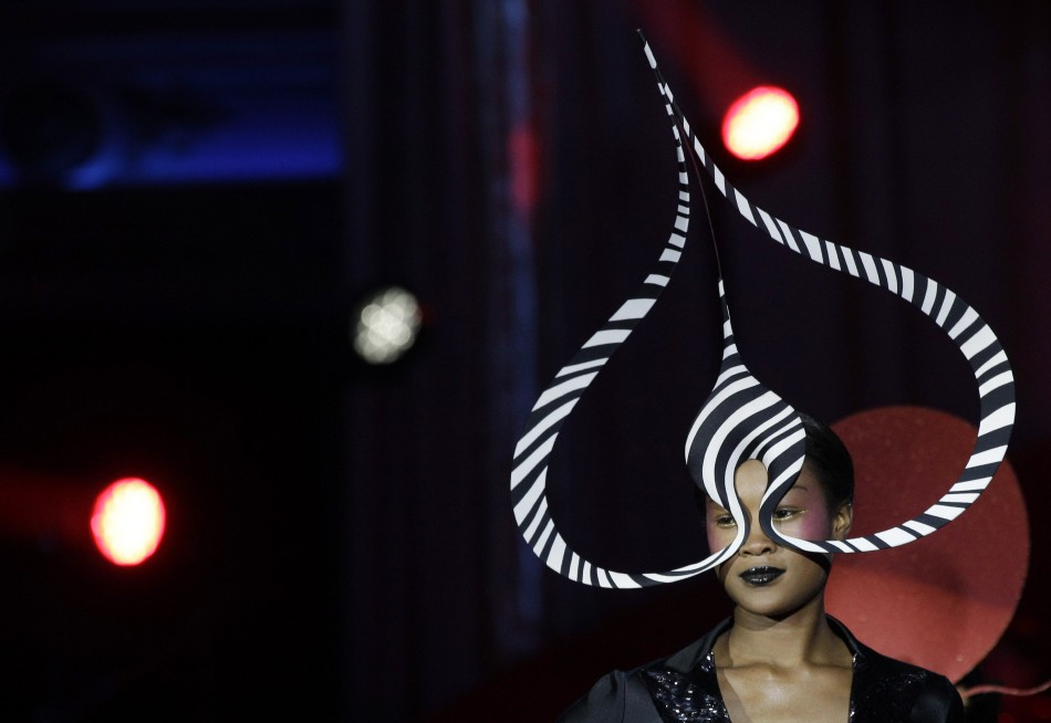 A model wears a Philip Treacy creation during the opening ceremony of the 20th Life Ball in Vienna