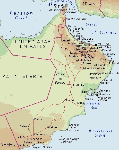 Map of the Gulf of Oman