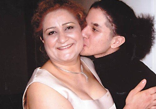 Fatemah Golmakani with her late son Milad, who was killed last year