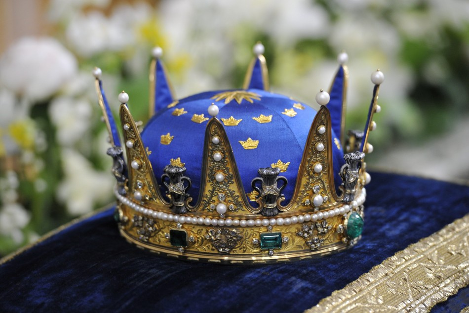 The Royal Crown for the christening of Sweden's Princess Estelle is pictured at the Royal Chapel in Stockholm