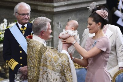 Royals attend the christening ceremony at the Royal Chapel in Stockholm