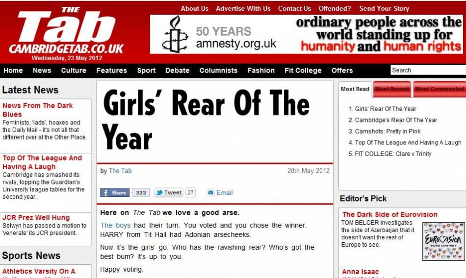 The Tab newspaper : 'Rear of the Year' contest