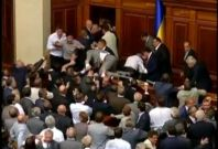 A violent scuffle erupted in Ukraine's parliament