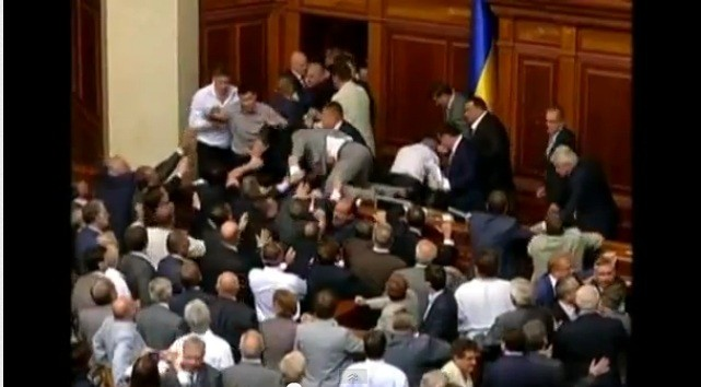 A violent scuffle erupted in Ukraine's parliament