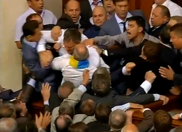 MPs fought over a language bill in Ukraine's parliament (YouTube)
