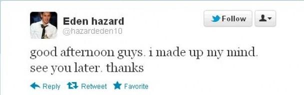 Hazard's tweet