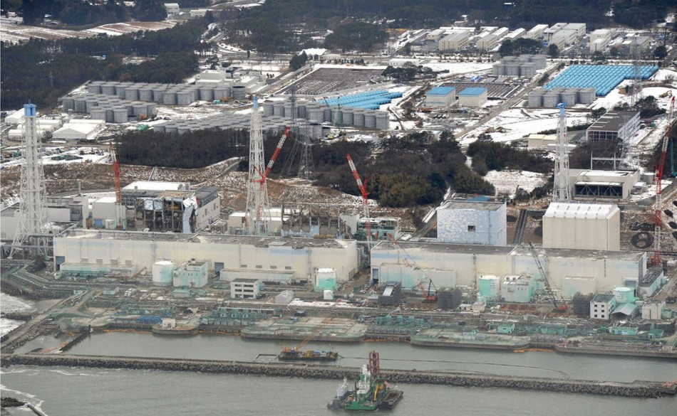 A damaged Tokyo Electric Power Co. (TEPCO)'s Fukushima Daiichi nuclear power plant is seen in Fukushima prefecture, in aerial shot taken on February 26, 2012. (REUTERS/Kyodo)
