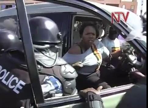 Ugandan TV footage of Ingrid Turinawe's breast being groped by police officer