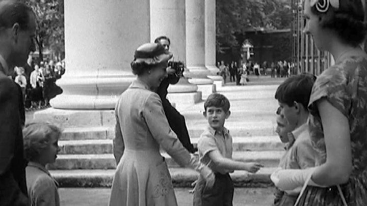 SOLE USE WITH THIS STORY ONLY. COPYRIGHT LAPSES 31.12.12 Prince Charles introduces his mother to his teachers and fellow students on sports day in 1957