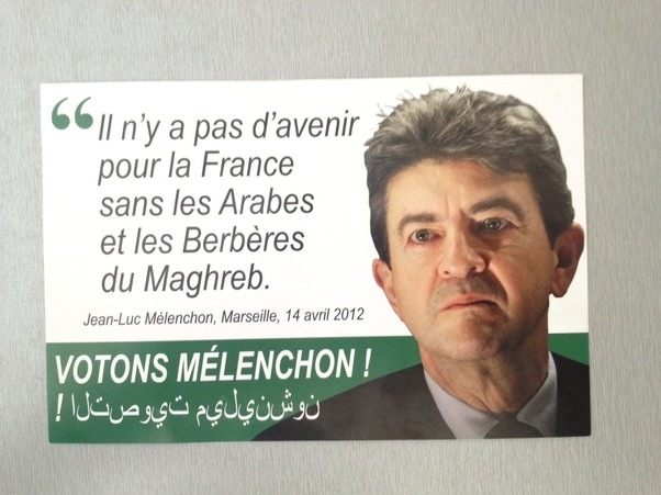 Copy of fake leaflet portraying Jean-Luc Melenchon's political platform