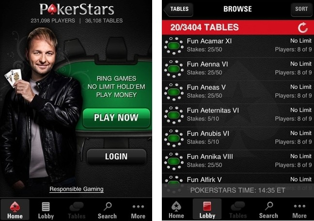 Poker Stars iphone 5 App screen