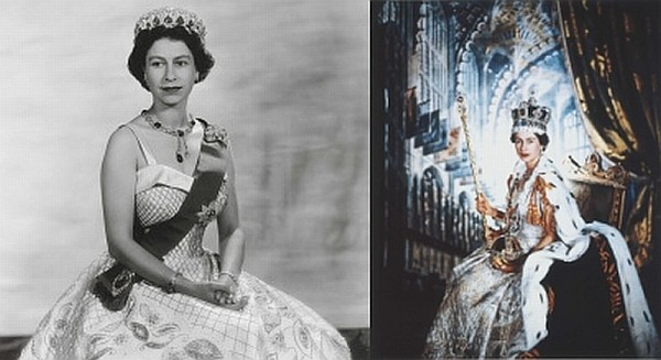 The Queen wearing Coronation robes, 1953 (R) and a Cullinan Pendant, 1956. (Photo: The Royal Collection)