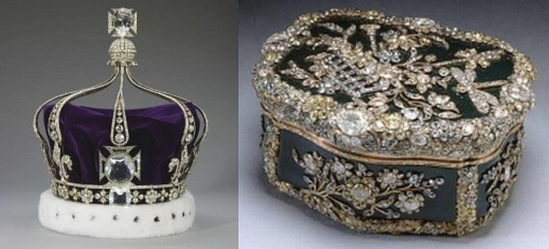 Diamond encrusted bloodstone box inherited by Frederick William III of Prussia and bought by Queen Mary in 1932 (R) and Cullinan Imperial State Crown (Photo: The Royal Collection)