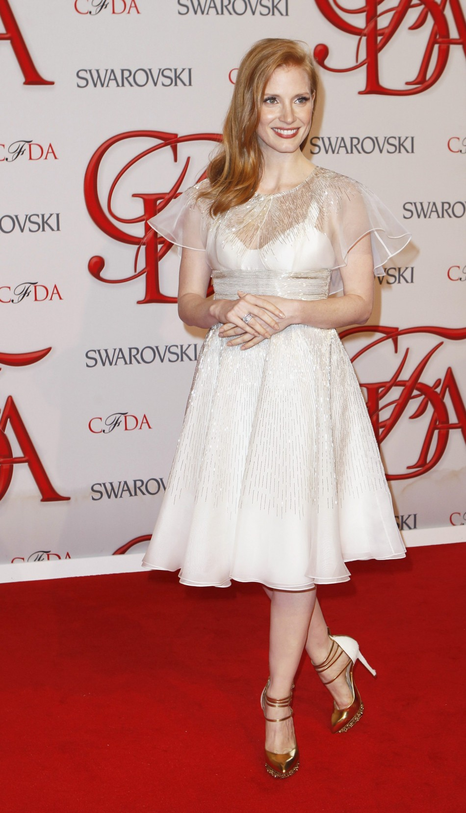 Actress Chastain arrives to attend the 2012 CFDA Fashion Awards in New York