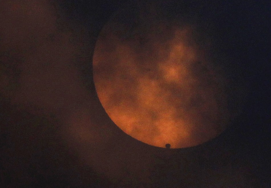 Venus starts its transit across the sun as seen from Newcastle