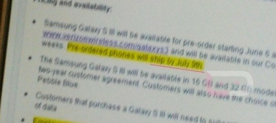 Verizon's Galaxy S3 document