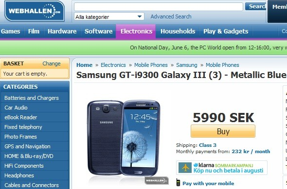Samsung Galaxy S3 at Webhallen store