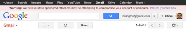 Google Targeted User Warning