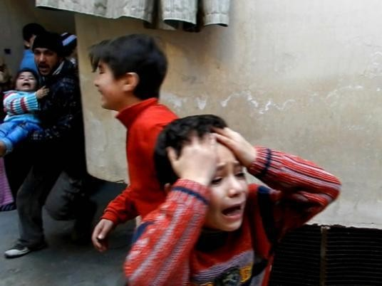 Children fleeing the violence in Hama province