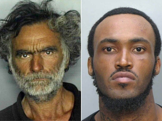 Ronald Poppo (L) had his face chewed off by Rudy Eugene in Miami.