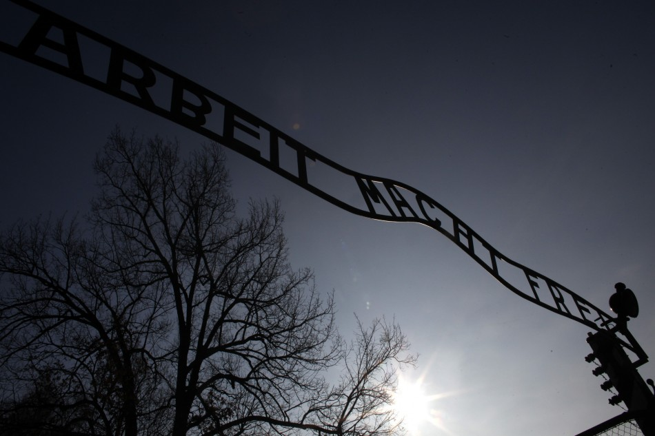 A view of the gate, with the words Work sets you free, at the former Nazi death camp of Auschwitz (Reuters)