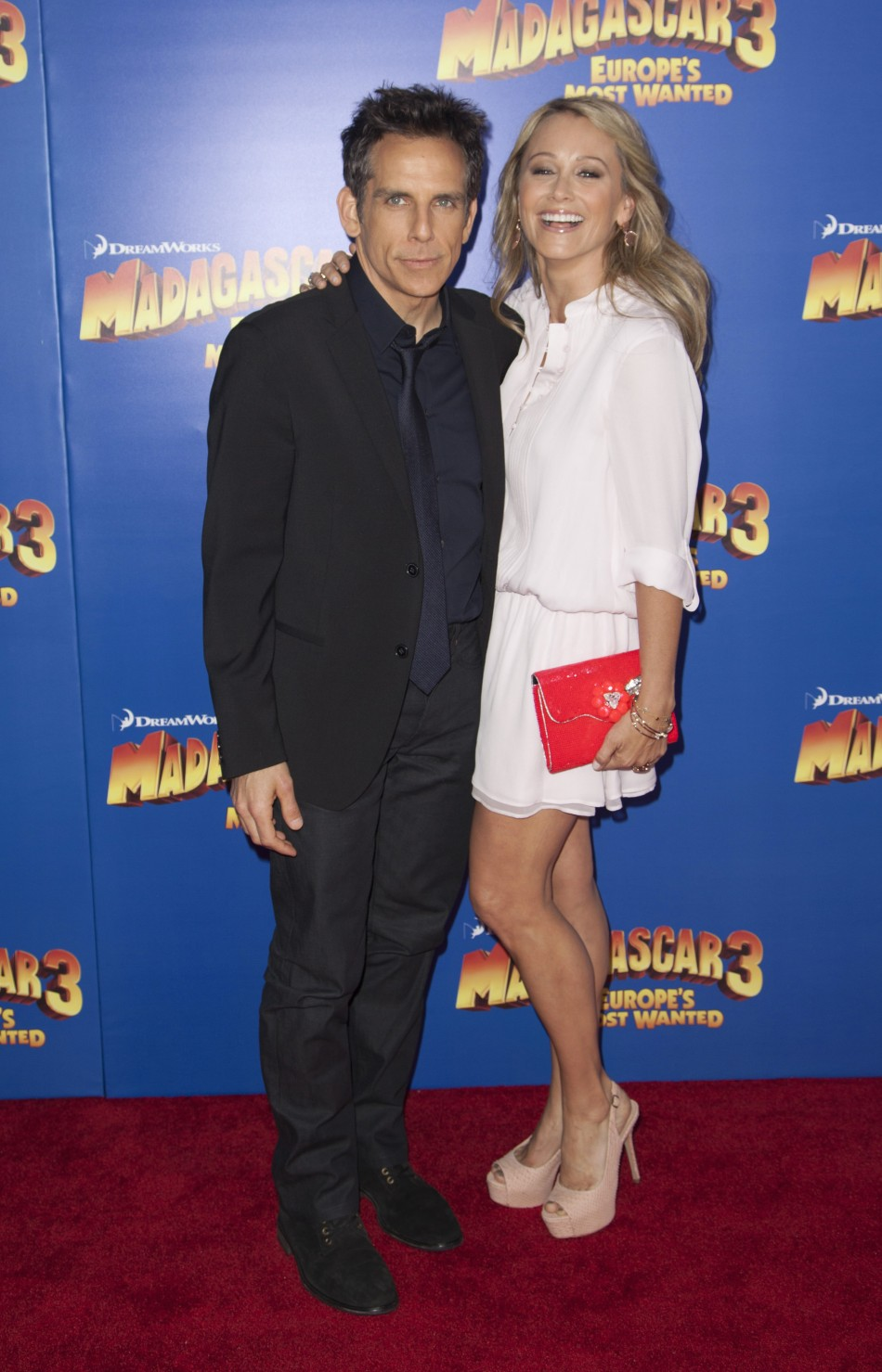 Cast member Ben Stiller and his wife actress Christine Taylor-Stiller arrive for the premiere of quotMadagascar 3 Europes Most Wantedquot in New York