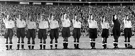 The England players giving a Nazi salute at the Berlin Olympic stadium in 1938 (Gnews)
