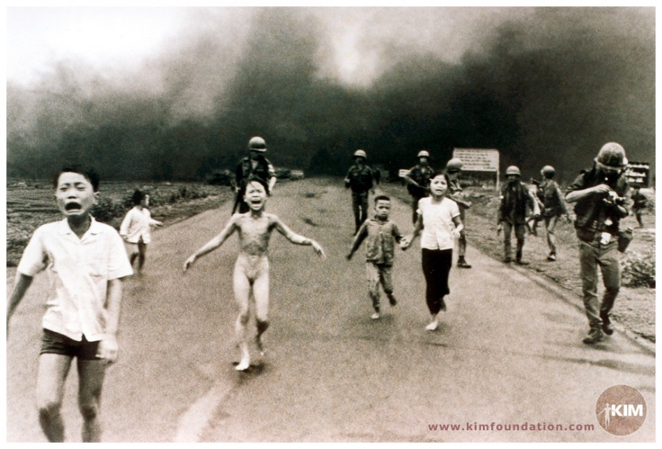 AP photographer Nick Ut's award-winning photo showing Phan Thi Kim Phuc screaming and running as her back was burnt in a US napalm attack during Vietnam War on 8 June, 1972.