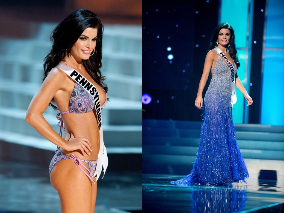 Miss Pennsylvania USA 2012, Sheena Monnin, from Cranberry Township, competes in her choice evening gown and swimwear during the 2012 Miss USA Presentation Show on 30 May. (Photo: Patrick Prather/Miss Universe Organization L.P., LLLP)