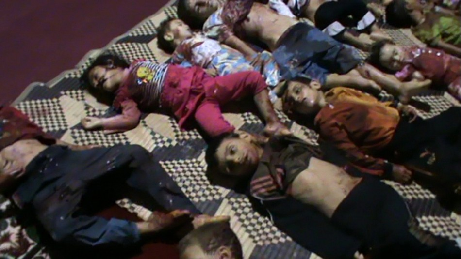 Bodies of children spread out on ground in Huola after being killed by government security forces, according to anti-government protesters