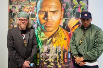 Chris Brown and artist Ron English