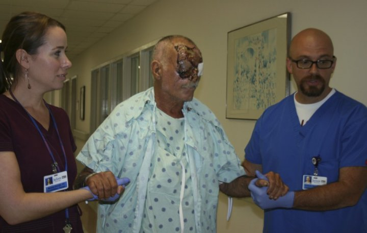 Miami face-eating attack victim Ronald Poppo is said to be recovering well is hospital (Reuters)