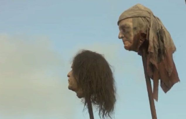 A scene from the first season of American television series Game of Thrones showing former US President George W Bush's severed head