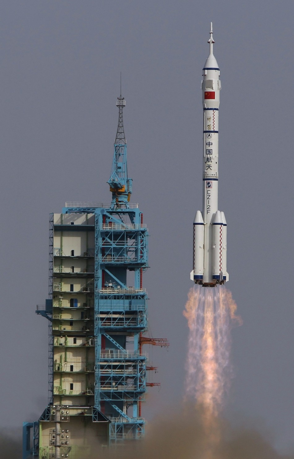 The Long March II-F rocket loaded with a Shenzhou-9 manned spacecraft