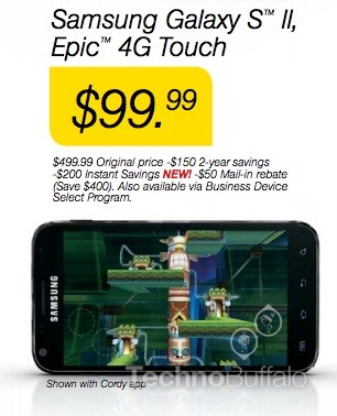 Samsung Galaxy S2 Epic 4G Touch at Sprint: Price Drops to $99.99 on 21 June?