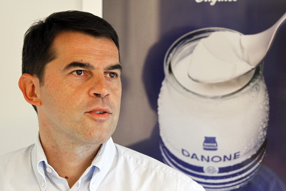 Pierre Andre Terisse, CFO at Danone delivers profit warning at a Paris conference